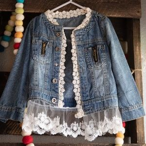 Jackets & Blazers - Little girls Country lace denim jacket size 6